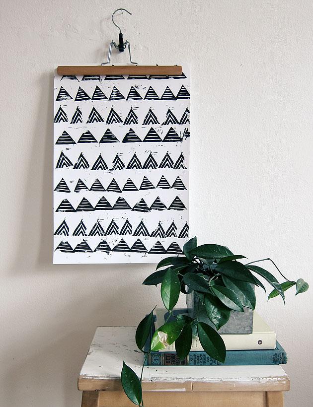 linolium, tryck, illustration, trianglar, triangel, anna nilsson