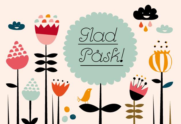 Glad påsk, blomster, pippi, fågel, moln
