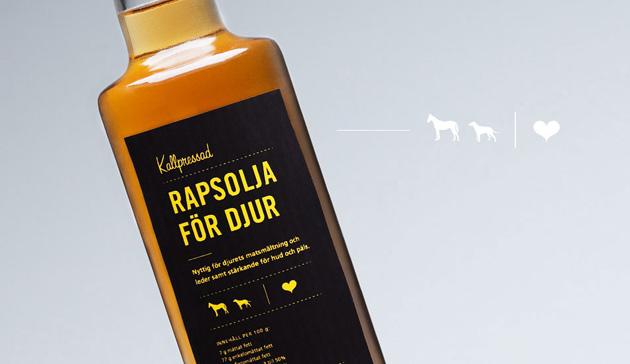 rapsolja, djur, omega 3, grafisk design, etikett, layout, grafik, förpackning