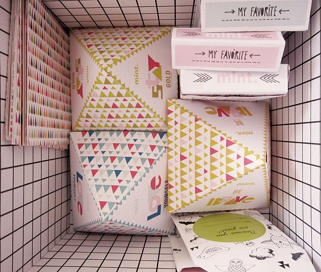 förpackningar, mönster, triangel, form, grafisk design, formgivning, mint,
