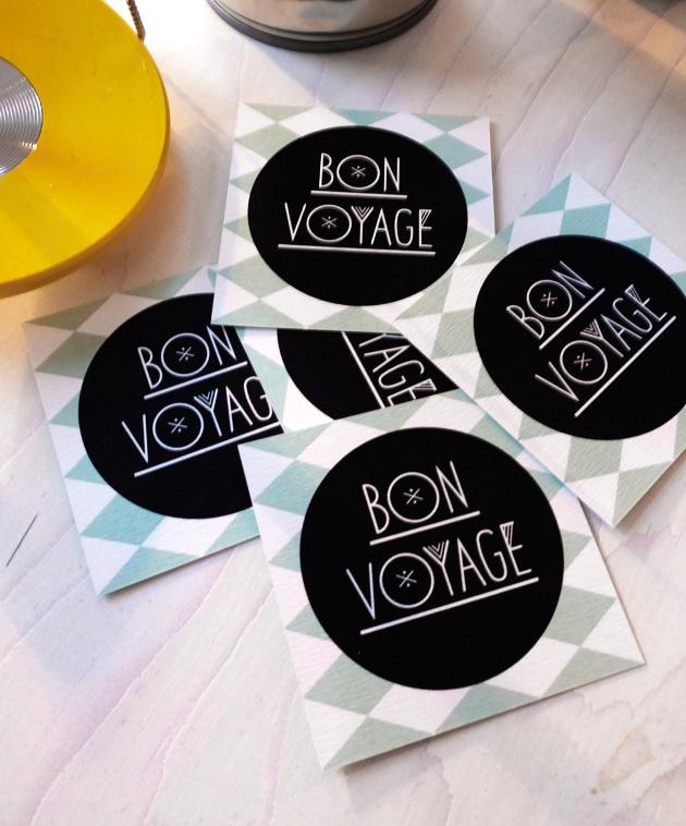 visitkort, bon voyage, mönster, grafik, illustration, typografi, logotyp