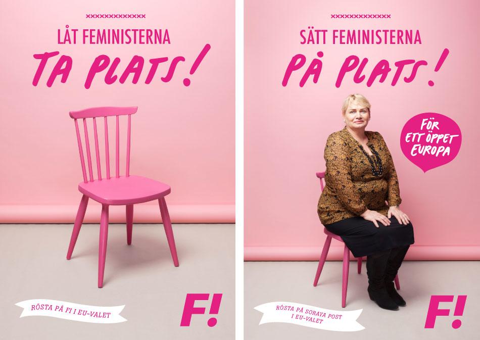 Bilder från kampanjen för Feministiskt Initiativ