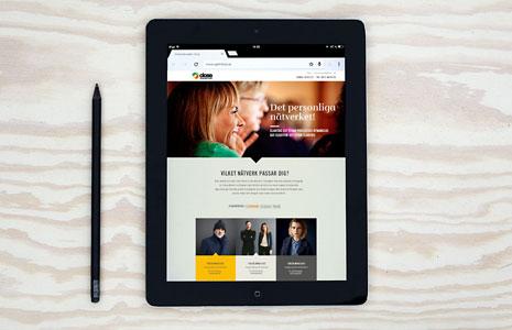 Webbdesign till Chefsnätverket close, applicerat på en I-pad