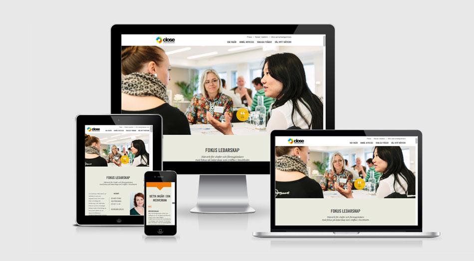 Webbdesign till Chefsnätverket close, visat som responsiv design