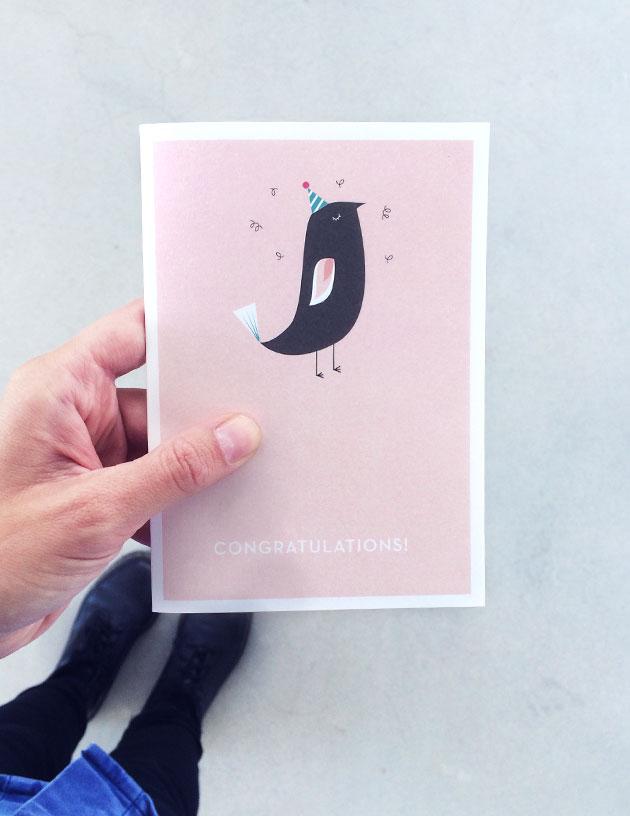 grafiskt vykort med fågel