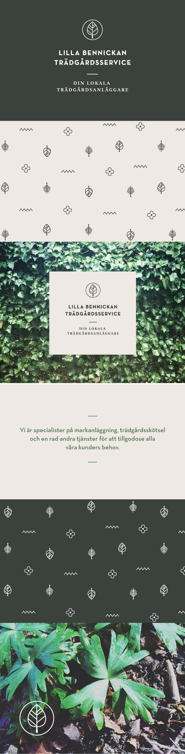 grafisk profil åt trädgårdsmästeri, bild på växter samt olika versioner av logotypen