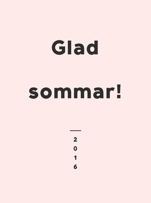 text mot rosa bakgrund där det står glad sommar
