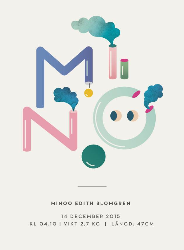 illustration med många färger och namnet Minoo skrivet