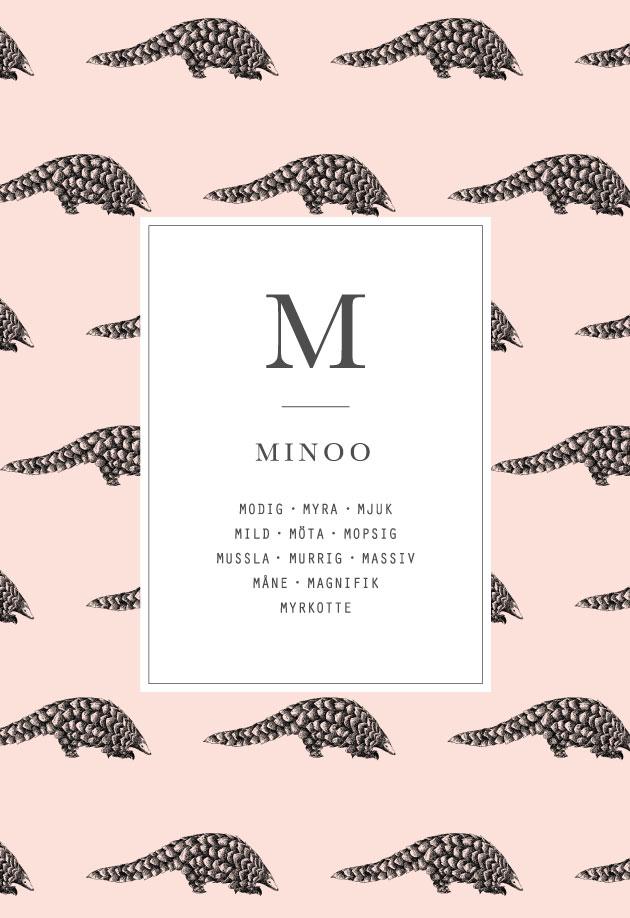 mönster motiv av en myrkotte, pastellfärger och typografi i mitten