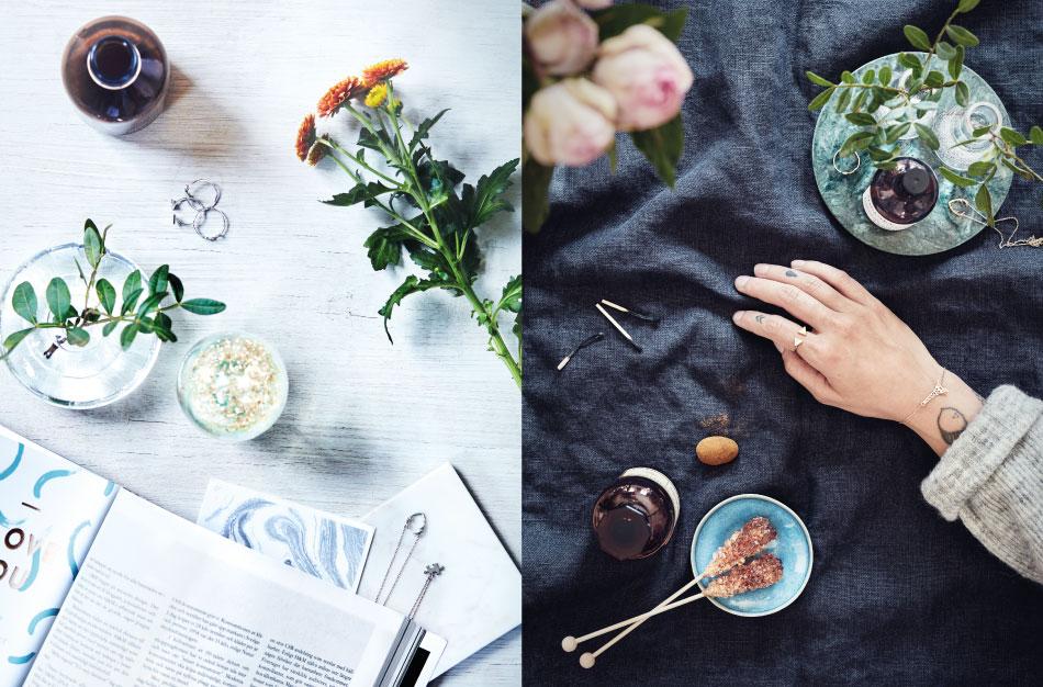 Foto av blommor hand och smycken