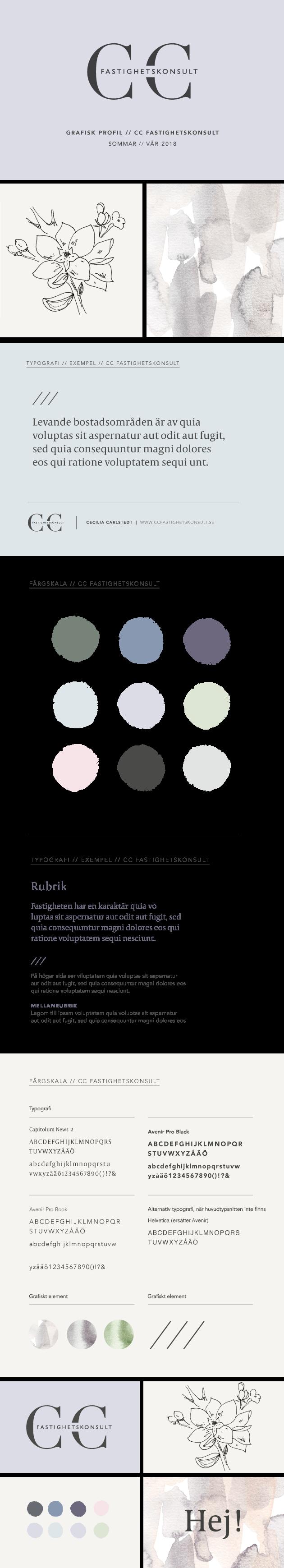 översikt över grafisk palett till företaget CC fastighetskonsult, typografi, färgskala och illustrationer